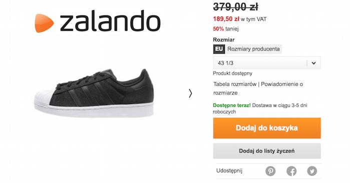 Zalando: buty Adidas Originals SUPERSTAR za 161 zł + darmo